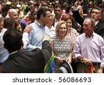 NEW YORK - JUNE 27: Andrew Cuomo, Kirsten Gillibrand, Cristine Quinn, Michael Bloomberg attend the 2010 New York City Gay Pride March on the streets of Manhattan on June 27, 2010 in New York City. - stock photo