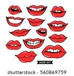 woman  girl lips isolated on... | Shutterstock .eps vector #560869759