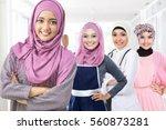 portrait of happy muslim woman... | Shutterstock . vector #560873281
