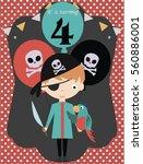 pirate happy birthday...   Shutterstock .eps vector #560886001