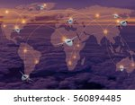 set of airplanes flying over... | Shutterstock . vector #560894485