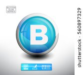 3d glossy blue button with... | Shutterstock .eps vector #560897329