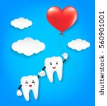 tooth character with red heart... | Shutterstock .eps vector #560901001