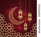 ramadan greeting card on red... | Shutterstock .eps vector #560905321