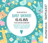 Stock vector bright cheerful invitation to baby shower party template invitation to a children s party for 560916337