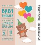 cute bear with balloon... | Shutterstock .eps vector #560923561