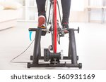 man using cycle trainer at home | Shutterstock . vector #560931169