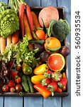 plate of vegetables and fruits   Shutterstock . vector #560935534