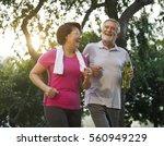 senior adult exercise fitness... | Shutterstock . vector #560949229