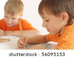 two brothers paint on a white... | Shutterstock . vector #56095153