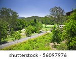 Golf Estate with forest and course - stock photo