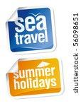 hot summer travel stickers set   Shutterstock .eps vector #56098651