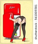 pin up girl in lingerie looks...   Shutterstock .eps vector #561005581