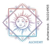 hand drawn alchemy symbol... | Shutterstock .eps vector #561014905