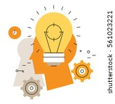 brainstorming flat line... | Shutterstock .eps vector #561023221