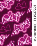 valentine's day pattern with... | Shutterstock .eps vector #561027205