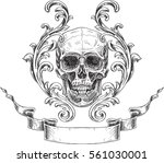 acanthus and skull. coat of... | Shutterstock .eps vector #561030001
