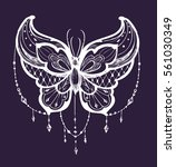 butterfly tattoo sketch. vector ... | Shutterstock .eps vector #561030349