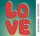 inscription love with hearts ... | Shutterstock .eps vector #561035185