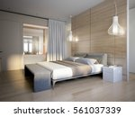 bright and cozy modern bedroom... | Shutterstock . vector #561037339