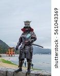 Small photo of Japanese Samurai at Itsukushima Shrine , Icon of Japan