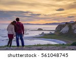 couple holding hand and looking ...   Shutterstock . vector #561048745