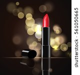 red lipstick and smears... | Shutterstock .eps vector #561050665