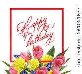 happy birthday card with with... | Shutterstock .eps vector #561051877