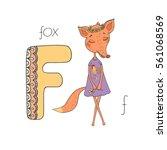 Cute Cartoon Fox In A Dress...