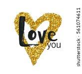 vector gold glitter heart....   Shutterstock .eps vector #561074611