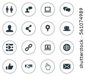 set of 16 simple internet icons.... | Shutterstock . vector #561074989