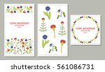 invitation card with floral... | Shutterstock .eps vector #561086731
