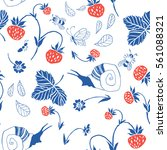 strawberry. seamless pattern.... | Shutterstock .eps vector #561088321