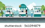 cart ice cream and hamburgers...   Shutterstock .eps vector #561094879
