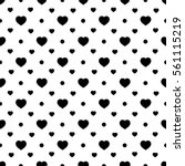Heart Black On White Seamless...