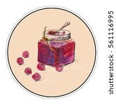 jar with raspberry jam. folk... | Shutterstock .eps vector #561116995