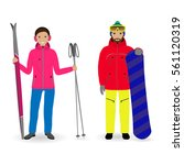 winter sport people. man with a ... | Shutterstock .eps vector #561120319