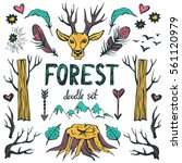 forest doodle set . hand drawn... | Shutterstock .eps vector #561120979