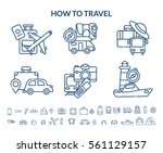travel icon set. vector  | Shutterstock .eps vector #561129157