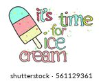 colorful ice cream on stick.... | Shutterstock .eps vector #561129361