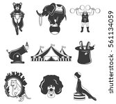 set of circus monochrome icons  ... | Shutterstock .eps vector #561134059