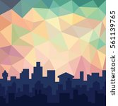 city skyline in colorful sky.... | Shutterstock .eps vector #561139765