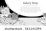 bakery background with bread... | Shutterstock .eps vector #561141394