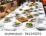 banquet in restaurant. table... | Shutterstock . vector #561143251