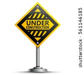 pole with a warning road sign... | Shutterstock . vector #561146185
