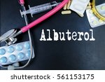Small photo of Albuterol drug word use in medicine word in medical background.