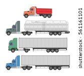 trucks and trailers on a white... | Shutterstock .eps vector #561161101