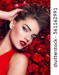 valentine's day. loving girl.... | Shutterstock . vector #561162991
