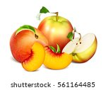 ripe fresh fruits  apples and... | Shutterstock .eps vector #561164485