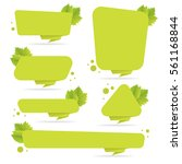 set of green paper origami... | Shutterstock .eps vector #561168844